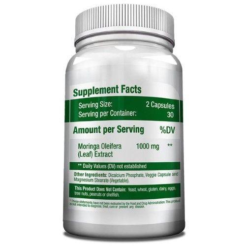 GreeNatr Pure Moringa Oleifera Leaf Extract Capsules - Premium Green Superfood