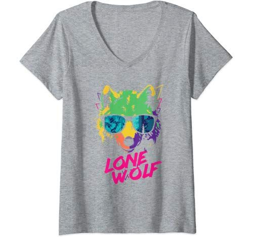 Womens Cool Lone Wolf Fun Party Costume Cute Easy Halloween Gift V Neck T Shirt Women #area51partyoutfit