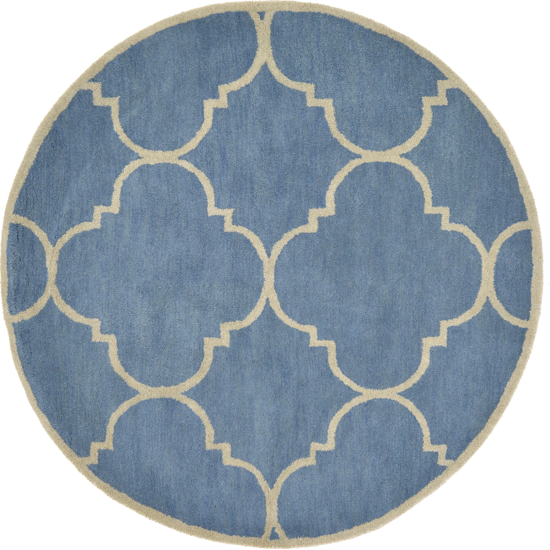 Blue 183cm x 183cm trellis round rug area rugs au rugs