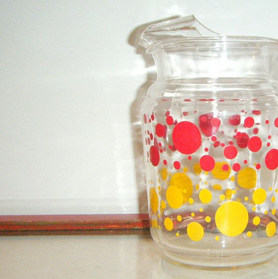 vintage red yellow polka dot glass pitcher serving milk juice lemonade retro kitsh farmhouse mid century - Pitchers For Kids