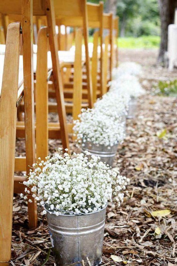 Galvanize Buckets, set of 5 for wedding decor, wedding isle