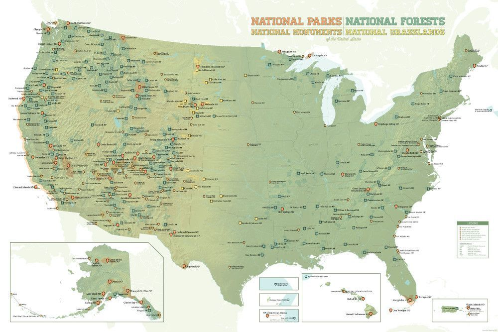 US National Parks, Monuments & Forests Map 24x36 Poster | Products ...