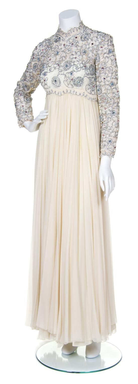Cream chiffon evening gown s cream lace bodice with silver