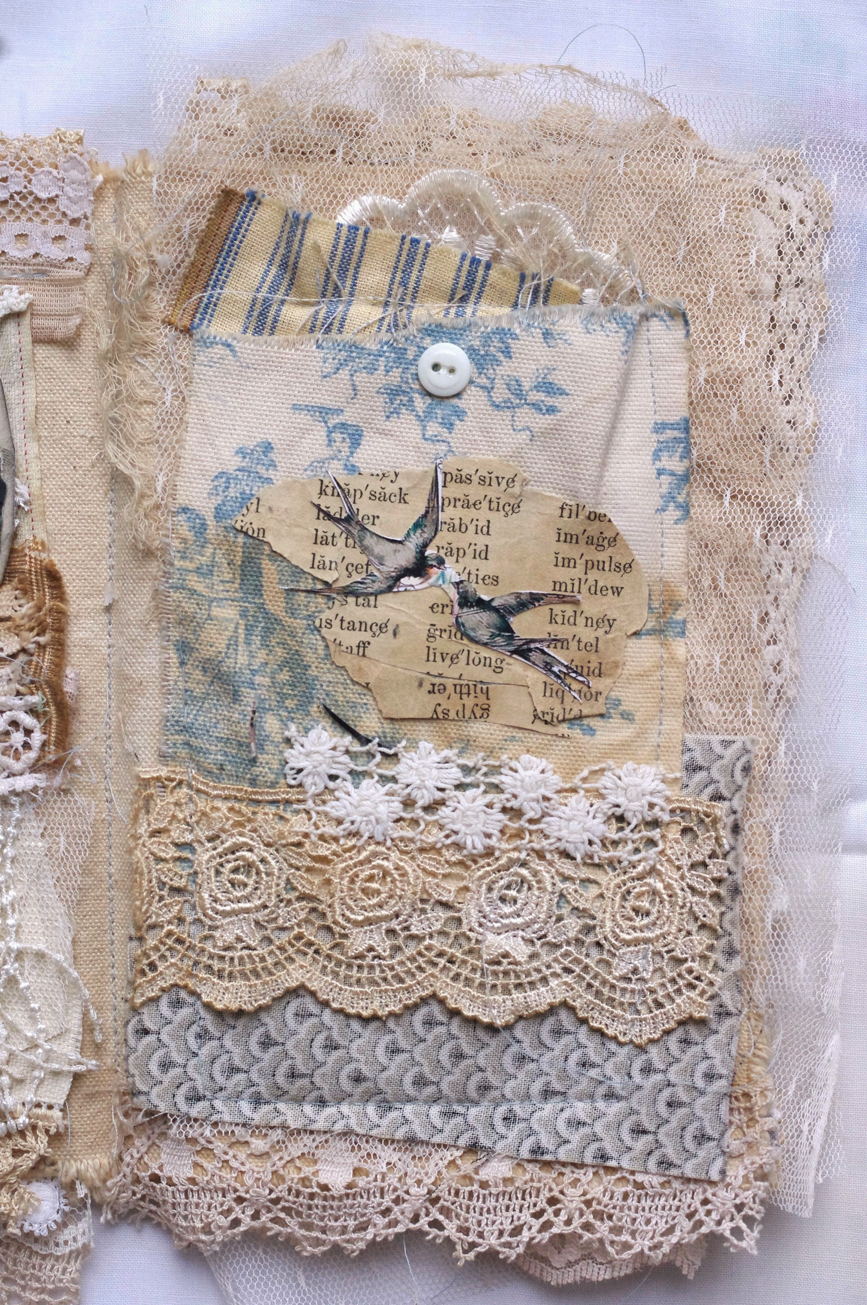 Arte France Journal French Inspired Fabic Book Page Mixed Media Fabric Collage Book