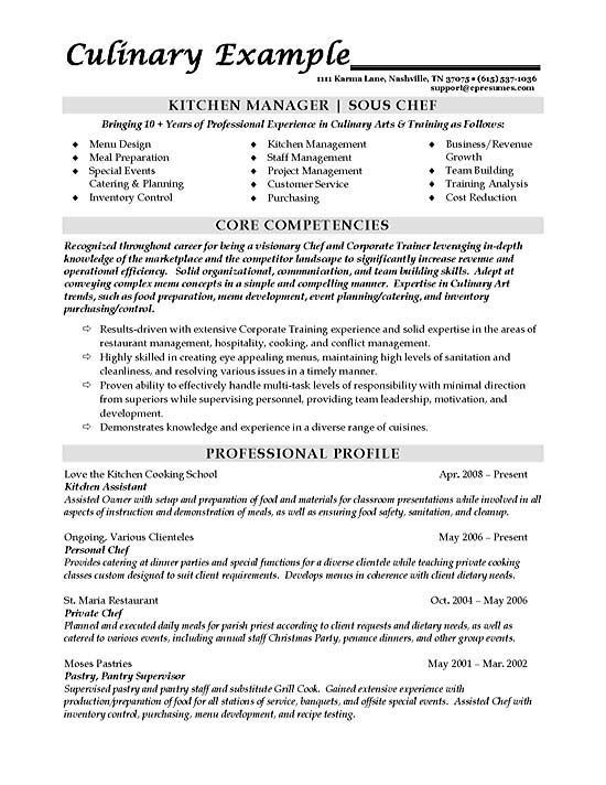 Sous Chef Resume Example Resume examples, Private chef and - private chef sample resume