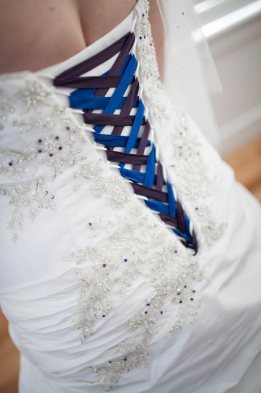Color Bibbon On Your Corset Back On Wedding Dress Weddingbee Wedding Dresses Corset Wedding Dresses Blue Wedding Dresses