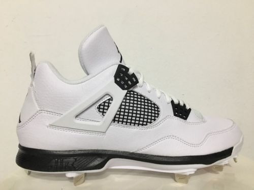 Nike Air Jordan 4 IV Retro Metal Baseball Cleats White Black SZ 10.5  [807110-