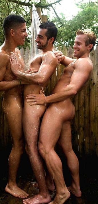 Hot gay guys showering together