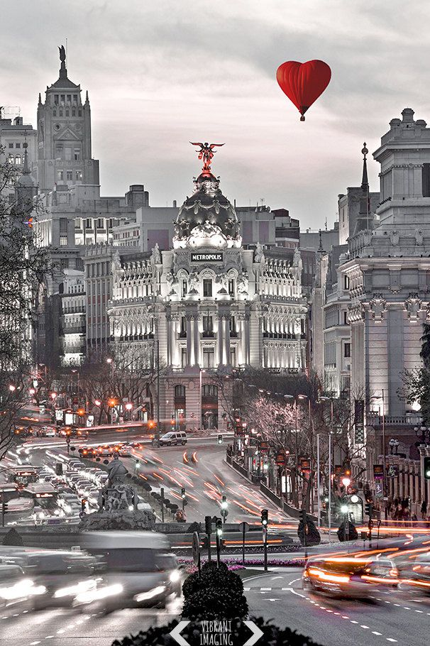Madrid Print Skyline Art Architecture Black And White Red Metropolis City Centre Cibeles Real Monument