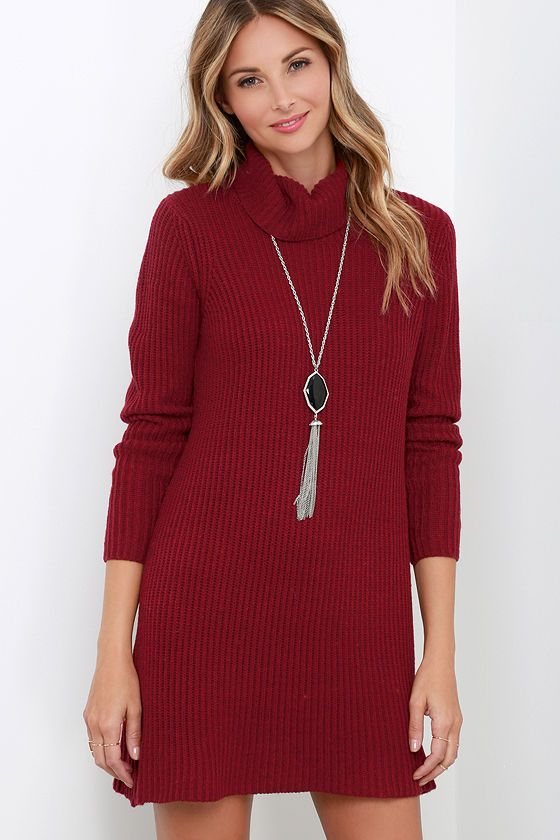 Glamorous Comfort Zone Wine Red Sweater Dress | Red sweater dress ...
