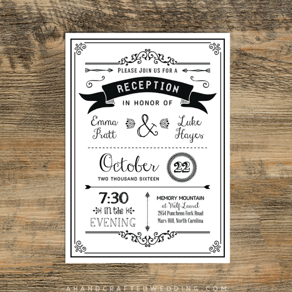 Black Sample Reception Only Invitation Templates
