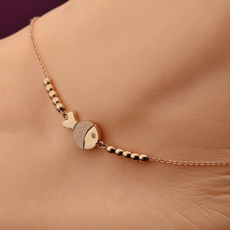 Voguess vendita caldo sveglio di modo di pesce cavigliera in oro rosa acciaio di colore braccialetto chain delle donne della ragazza amante a piedi nudi dei monili a catena