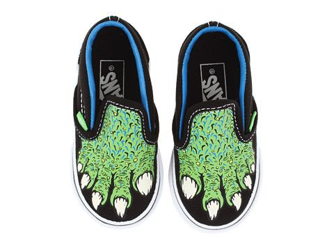 6c1435eee4f1a7 Vans Kids Classic Slip-On Glow in the Dark (Infant Toddler) (Monster Feet)  Black Green Flash - Size 7.5