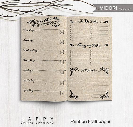 Printable Inserts Weekly Planner, Midori Weekly Spreadsheet