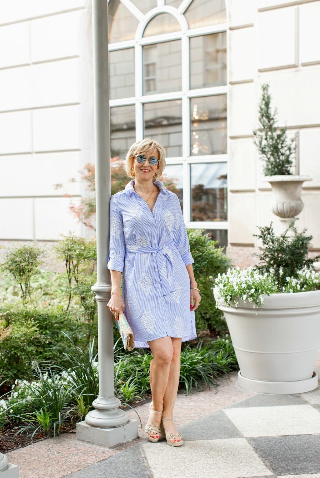 How to Style a Blue and White Striped Shirt Dress for Women