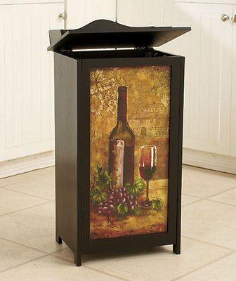 Wine Wooden Trash Can Bin Kitchen Home Decor #