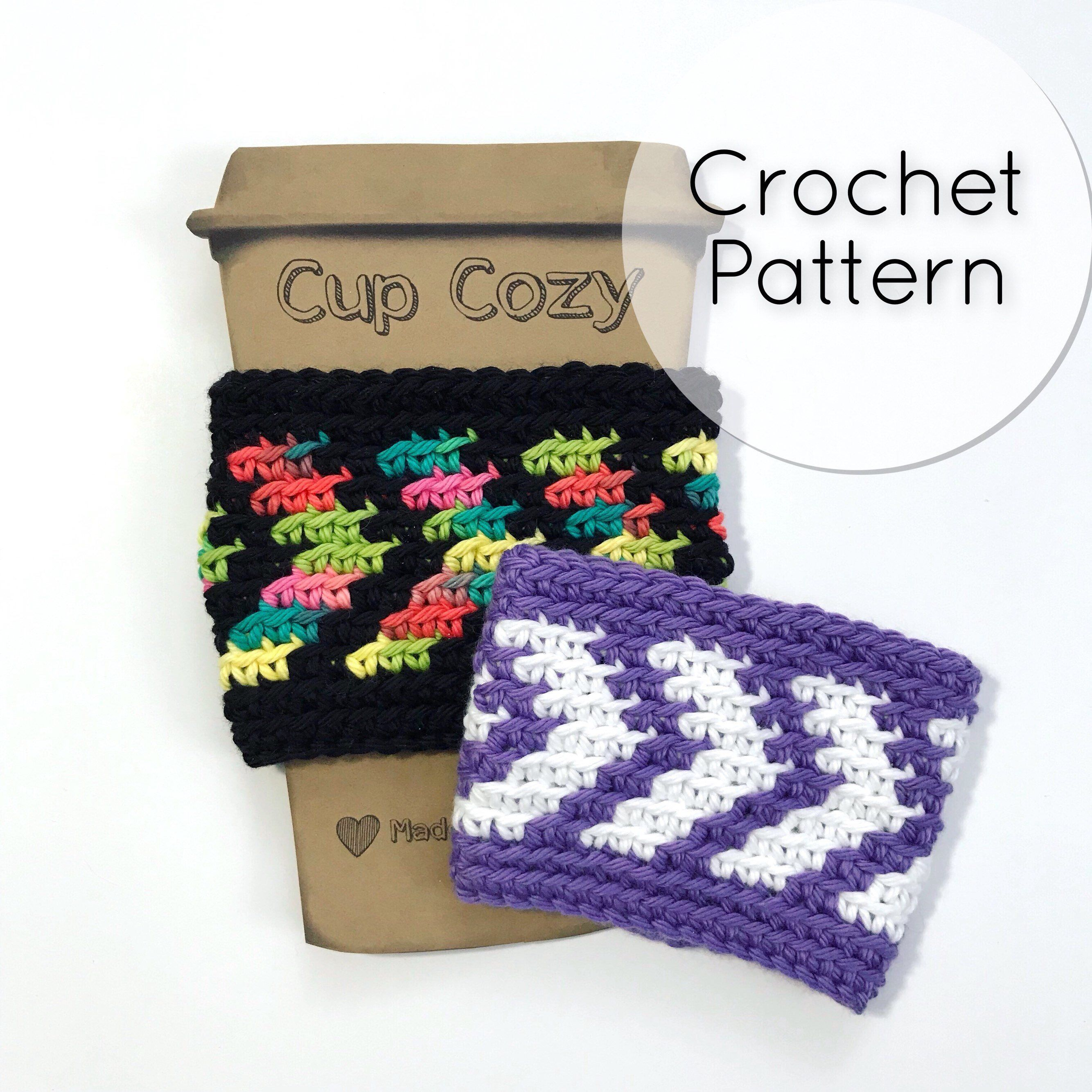 PDF Crochet Pattern 7 Arrows Cup Cozy Coffee Sleeve Chevron Reusable