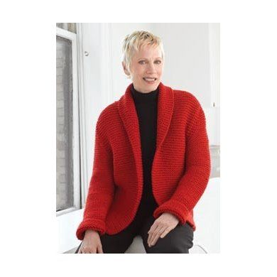 59425945ae74c Free Pattern. Login required. Red Hot Sweater Jacket in Lion Brand  Wool-Ease Chunky - 20061127