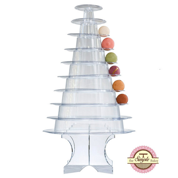 This Elegant Macaron Tower Consists Of 10 Individual Clear Stackable High Quality Plastic Levels Not Acrylic Th Macaron Tower Macaroon Tower Macaron Stand