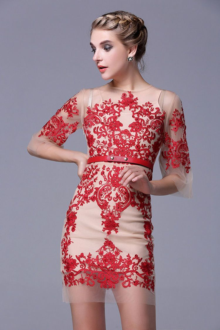 Flannel homecoming dress  Translucent Yarn Mesh Embroidery Dress  In  Colors Gold Red