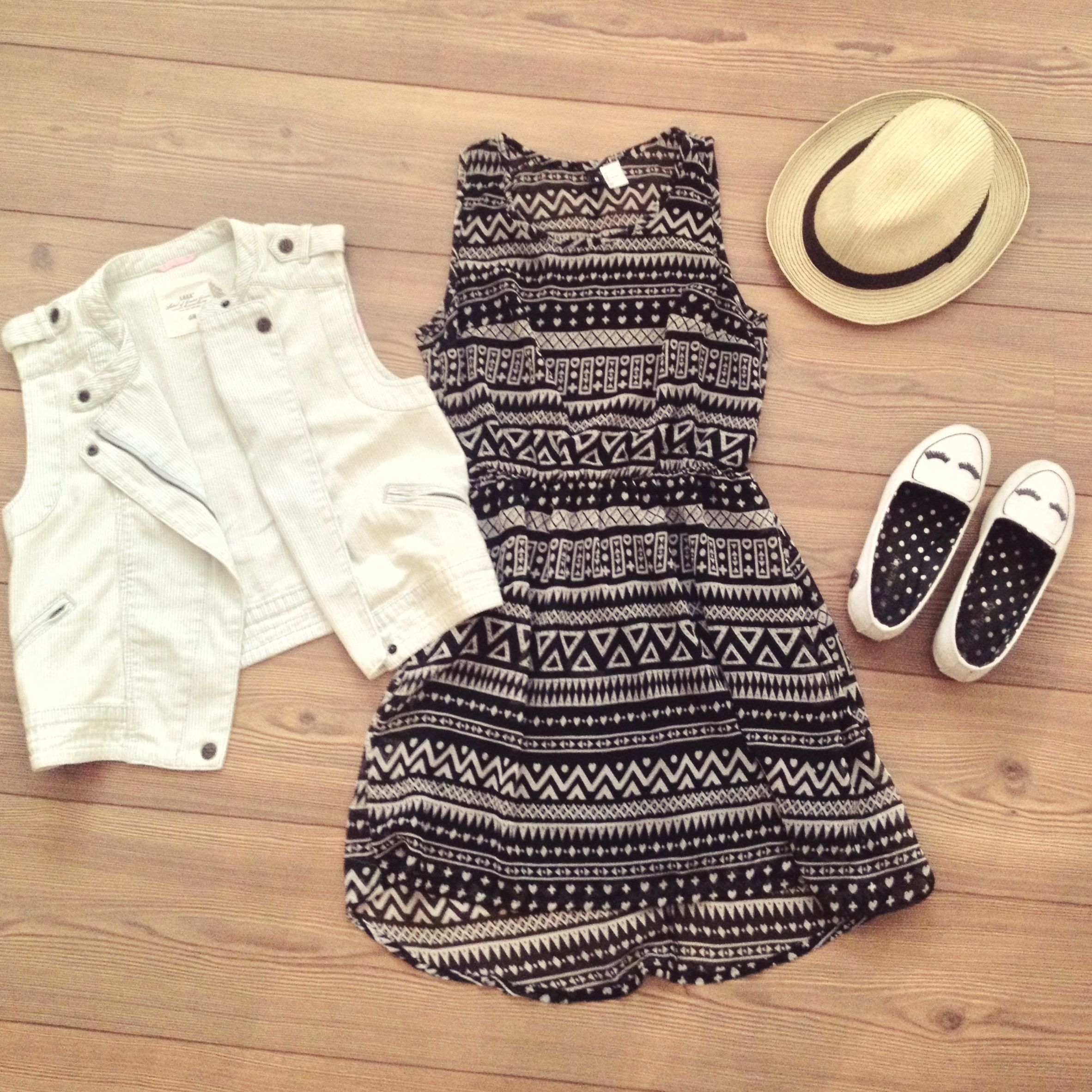 beb36391a012 Vest- HM kids Dress- Forever 21 Hat- Forever 21 Shoes- Loly in the Sky   Adriana Falcon in the sky