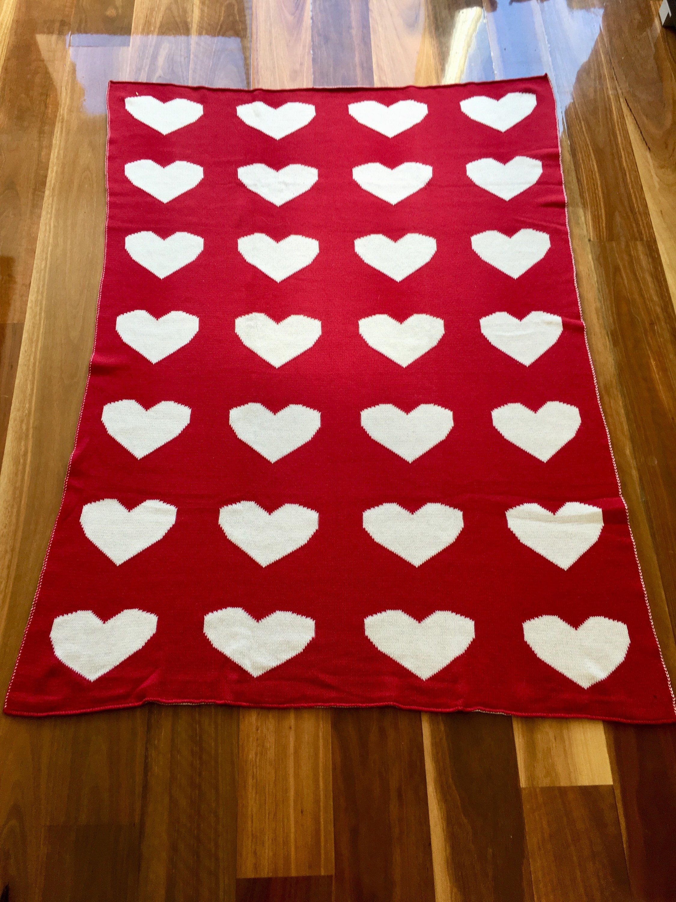 Stunning Multi Purpose Baby Blanket Red And White Hearts Reversible Available