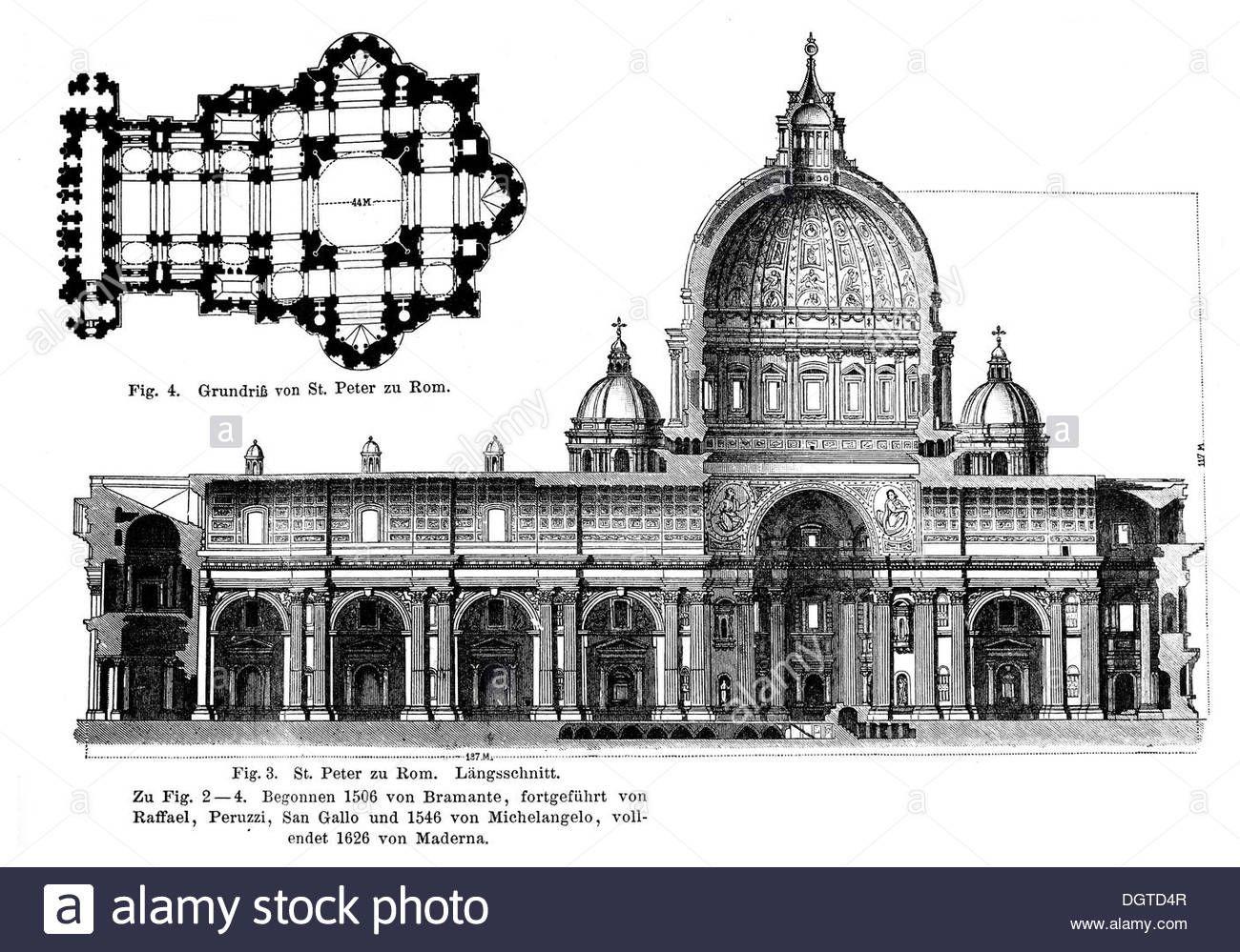 St. Peter's Basilica, Rome, Longitudinal Section