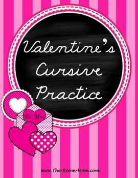 Valentines Day themed cursive practice worksheets freebie