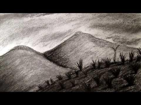 Como Dibujar Paisaje Al Carboncillo Dibujar Paisajes Y Montanas Hd Youtube Carboncillo Paisaje Paisaje A Lapiz Montanas Dibujo