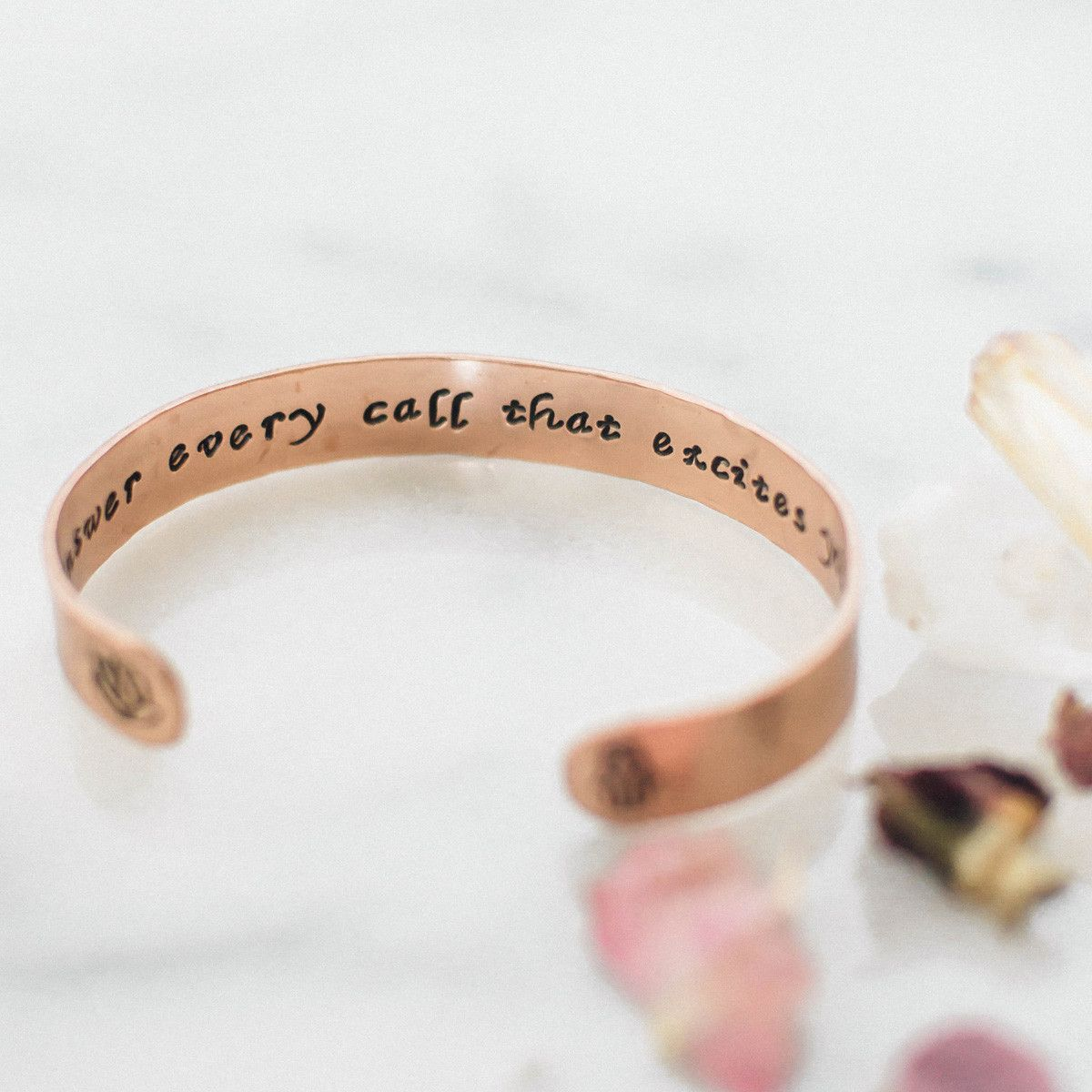 Answer Every Call That Excites Your Spirit Copper Cuff Bracelet