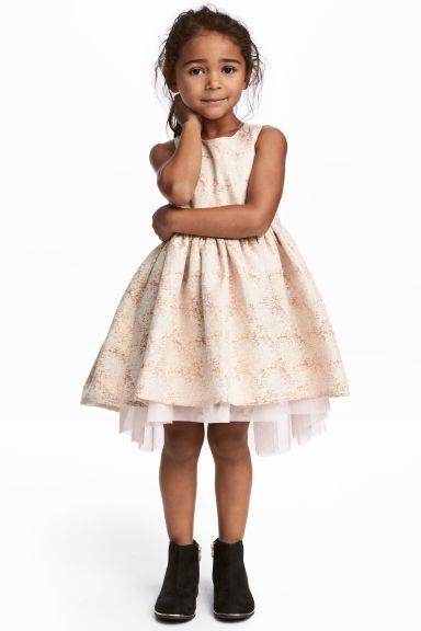 Vestido em tecido jacquard - Rosa pó Brilhante - CRIANÇA   H M PT 1 ... 928b476fd4