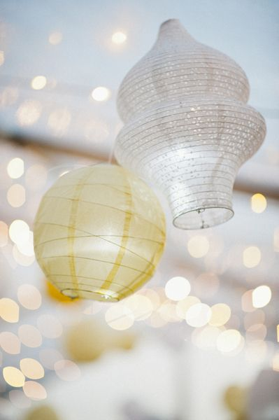 Hanging lanterns and twinkle lights