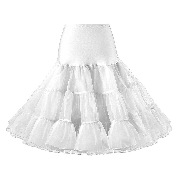 WOMENS WHITE NETTED TUTU UNDERSKIRT FANCY DRESS RETRO DANCE PETTICOAT 1950 SWING
