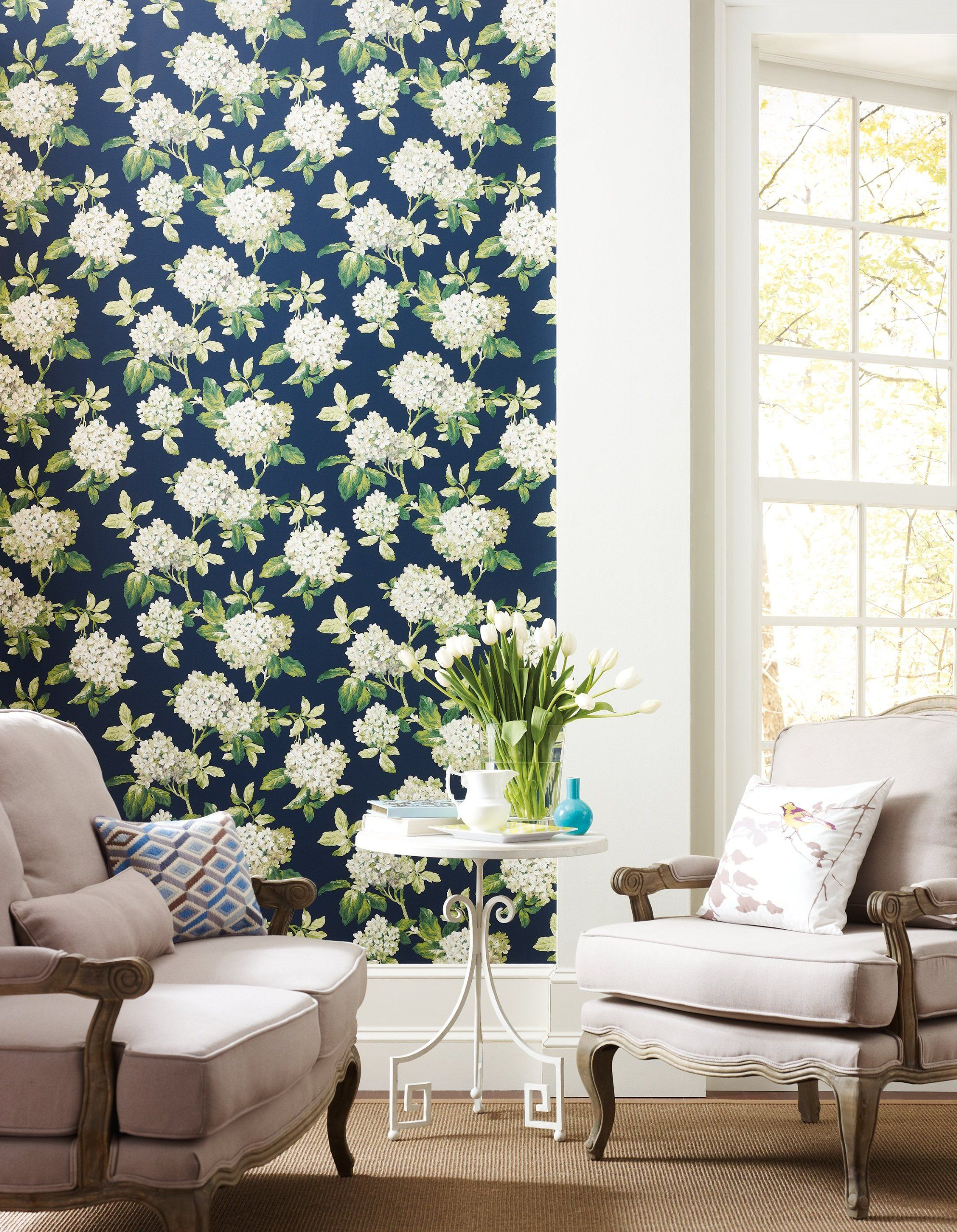 York Wallcoverings Ashford House Blooms Hydrangea Wallpaper