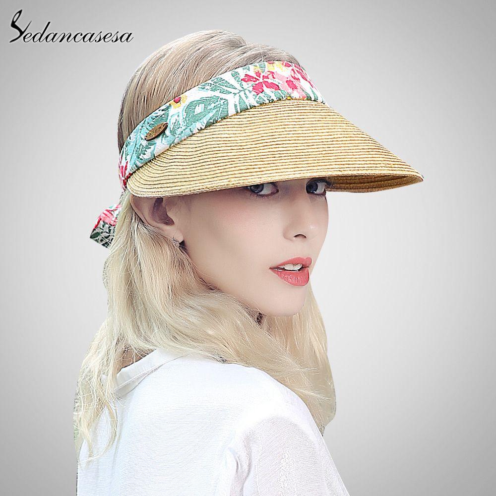 2f04b5a2 sun visor hat female summer sun hats for women beach hat holiday outdoor  Cycling cap girls straw Hat fashion SL00020