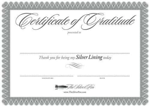 A beautiful heartfelt certificate to express your gratitude to
