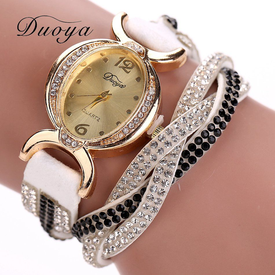 Duoya Luxury Brand Watch Women Gold Dress Crystal Rhinestone ...