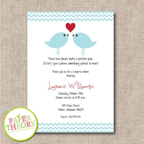 printable love birds bridal shower invitation by paper theory