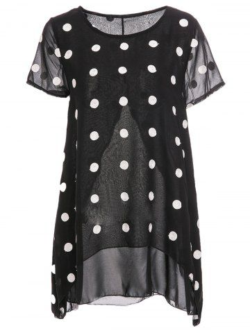 Women's Trendy Scoop Neck Short Sleeve Chiffon Polka Dot Blouse
