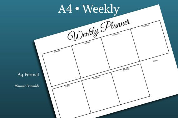 WEEKLY PLANNER Template A4 Size Printable pdf par PlannerPrintable - Agenda Planner Template