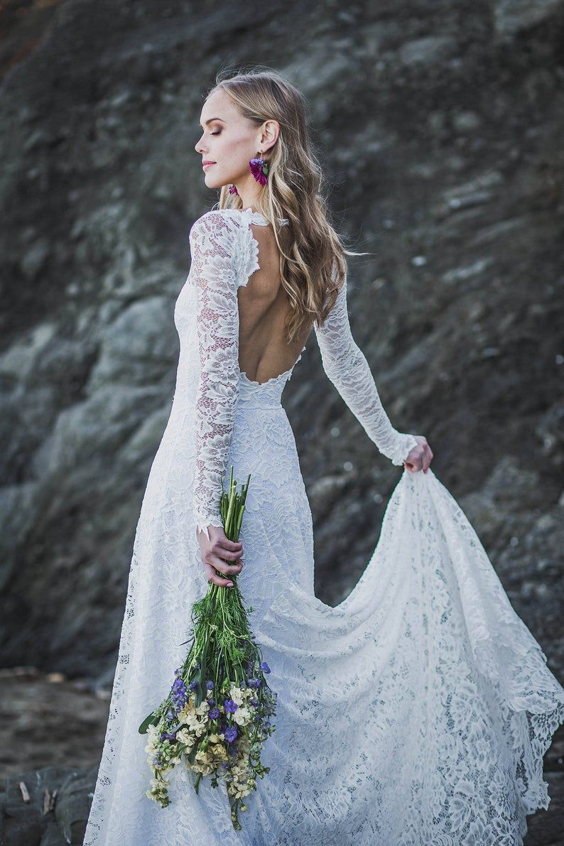 Where To Buy A Wedding Dress Online In 2020 Long Sleeve Wedding Dress Lace Indie Wedding Dress Long Wedding Dresses