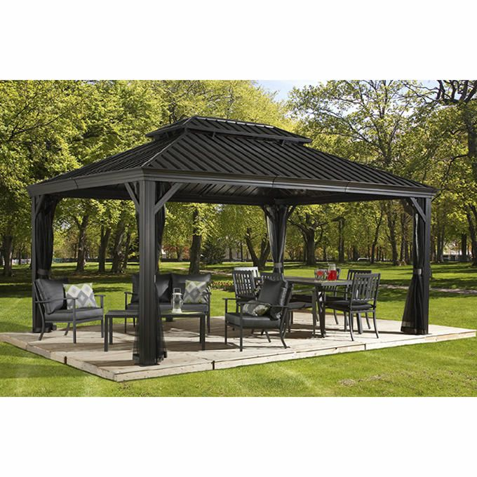 Messina Galvanized Steel Roof Sun Shelter In Dark Gray Pergola Patio Hardtop Gazebo Patio Gazebo