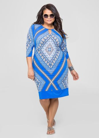 Bar Keyhole Scarf Print Dress
