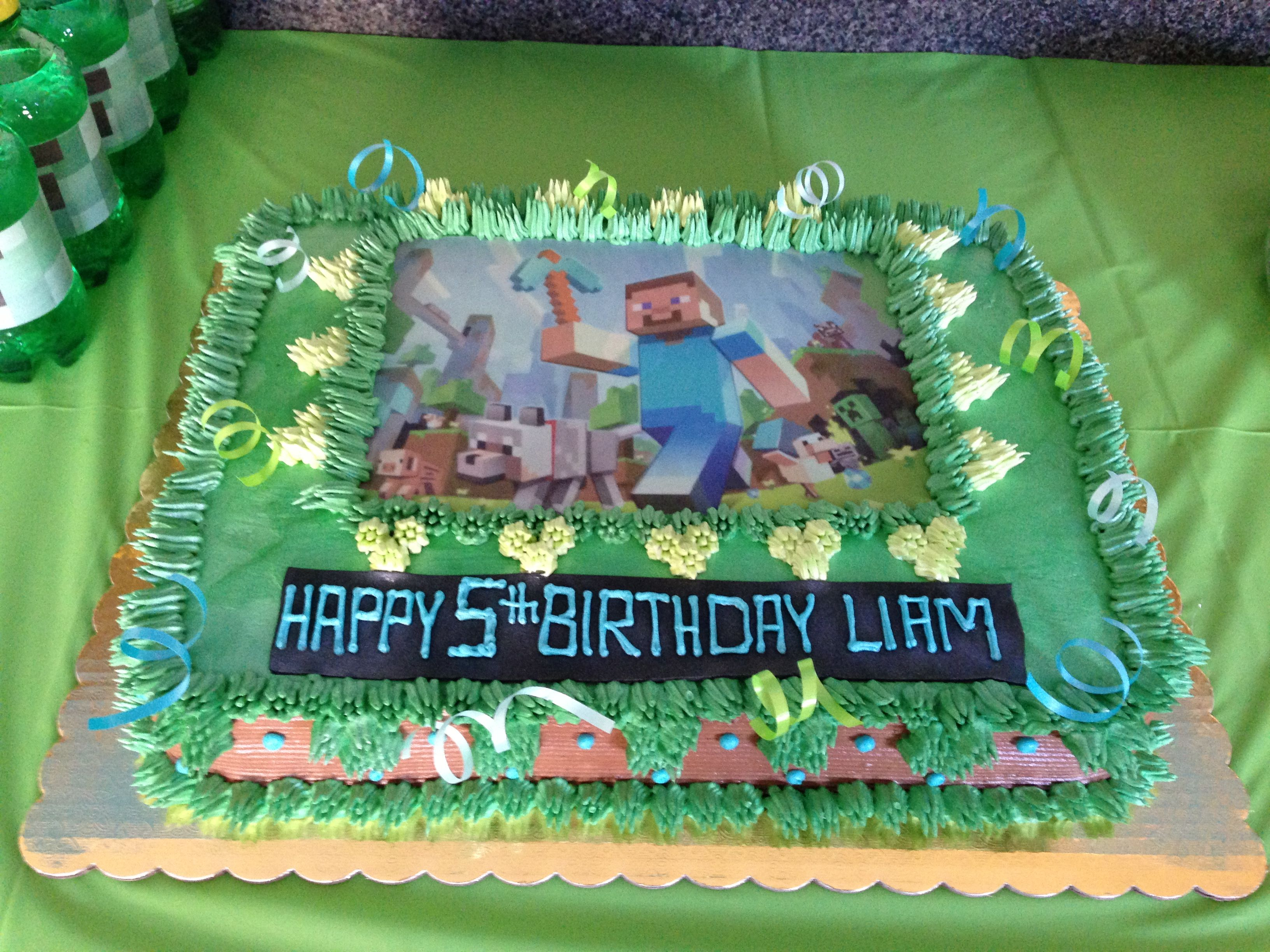 Minecraft cake Printed the minecraft picture from the Internet and