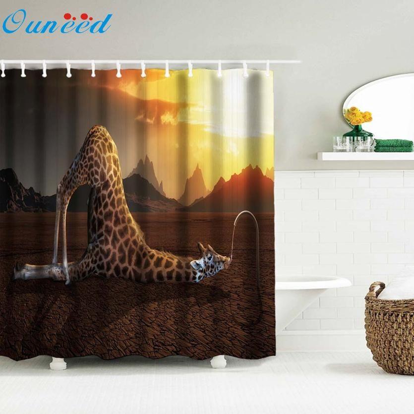 Digital Print Waterproof And Mildewproof Shower Curtain Size 180