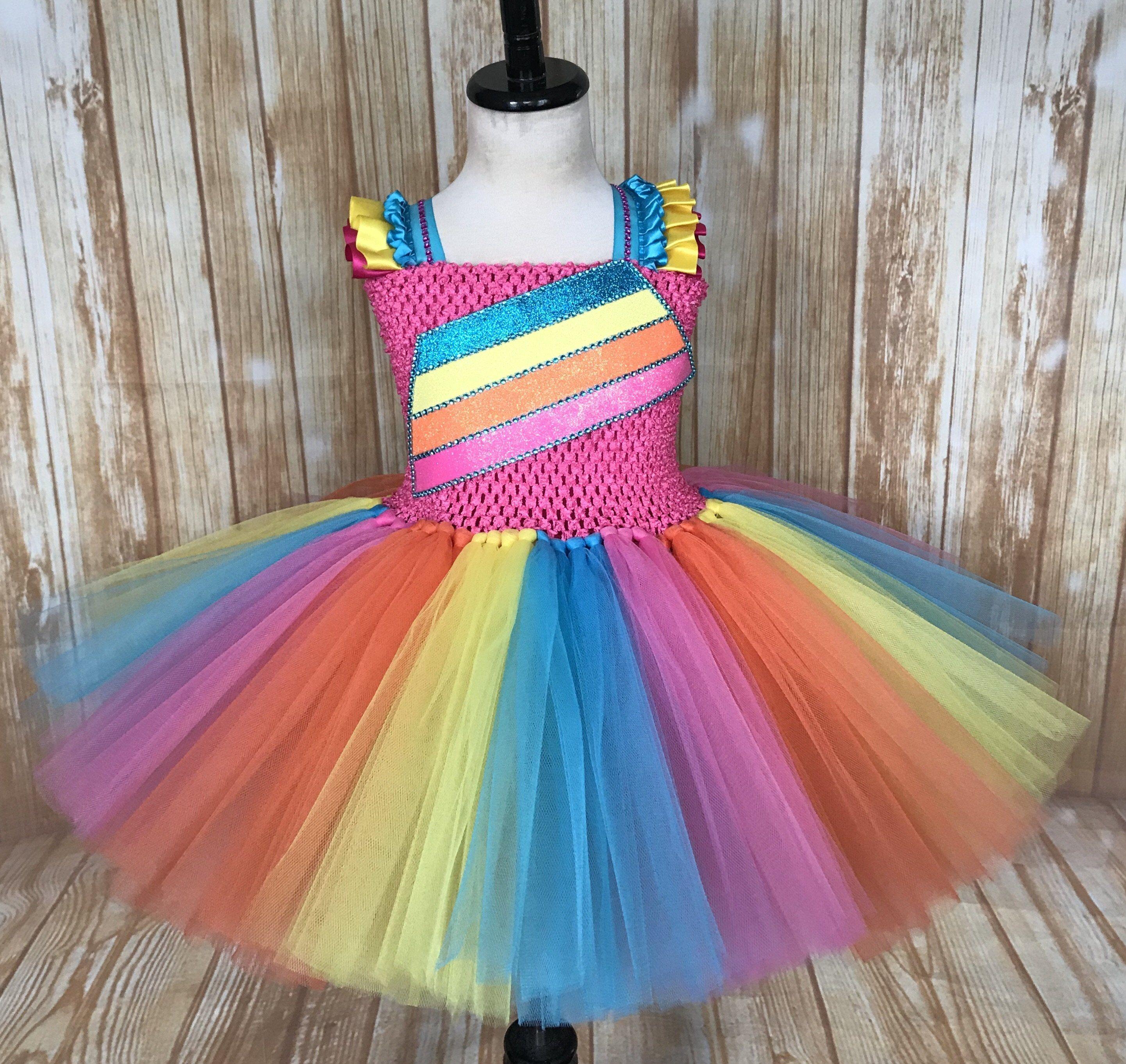 JoJo Siwa Tutu Dress Costume Bows Rainbow Sparkly Glitter Fancy Dress All Sizes