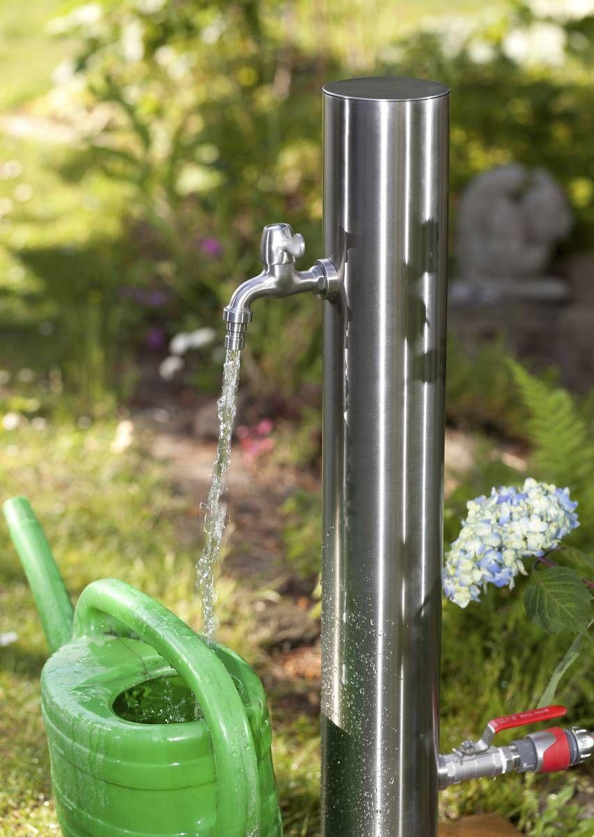 Wasserzapfsaule Aus Edelstahl Mit 2 Auslaufhahnen Wasserzapfsaule Wasserzapfsaule Garten Edelstahl