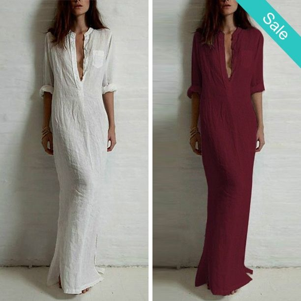 Long Sleeve Deep V Neck Linen Split Maxi Dress - Posh linen floor length maxi dress. Perfect for that summer weekend or belt and wear to work. This dress is a closet staple that has easy style and as fashionable as it is comfortable. Hand wash and lay flat or line dry. - On Sale for $22.00 (was $39.00)