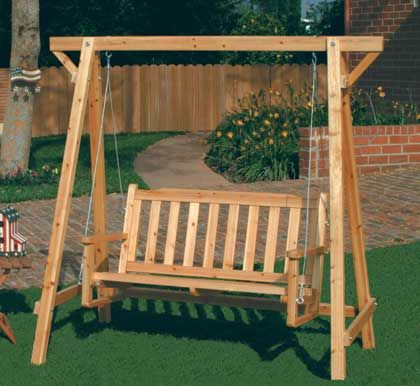 Rustic Garden Swing Is Perfect For Porch Or Patio Comfy Bench Is Roomy Enough For Two Oil And Lacque Wooden Garden Benches Patio Furniture Chairs Porch Swing