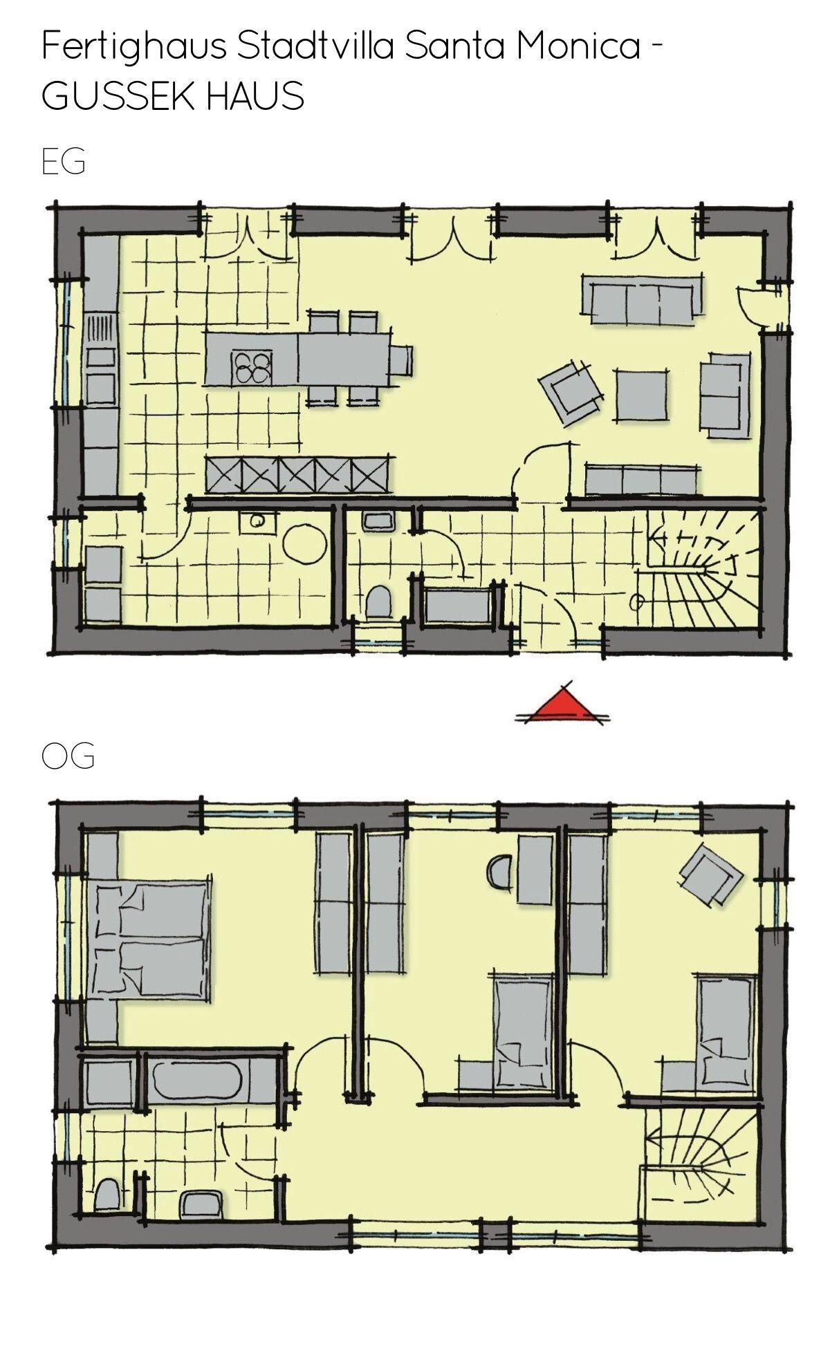 Grundriss Einfamilienhaus schmal mit Flachdach Architektur